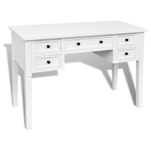VidaXL Writing Desk With 5 Drawers, White