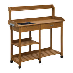 fast furnishings wooden potting bench garden work table with sink and shelving light oak