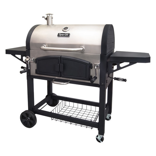 Dyna-Glo DGN576SNC-D Dual Chamber Charcoal BBQ Grill w/ Adjustable Cha
