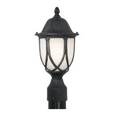 "Designers Fountain 2866-BK Capella 1 Light 9"" Cast Aluminum Post Lantern"