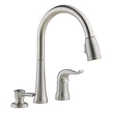 Delta Single Handle Pull Down Kitchen Faucet, Stainless Steel
