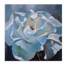 """Glamorous Rose"" Wall Art, Light Blue Finish"
