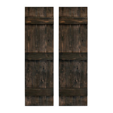 """Traditional Board and Batten Exterior Shutters Pair, Slat Black, 48"""""""