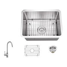 16-Gauge Tiny Radius Single Bowl Undermount Bar Sink, Gooseneck Kitchen Faucet