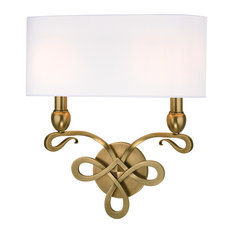 Pawling, Two Light Wall Sconce, Aged Brass Finish, White Faux Silk Shade