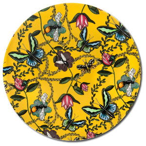 Bugs and Butterflies Yellow Tray, 46 Cm