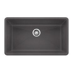 """Blanco 441478 18.8""""x32"""" Granite Single Undermount Kitchen Sink, Cinder"""