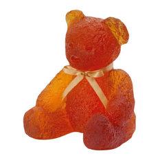 Daum Crystal Doudours Teddy Bear Large Amber 05365