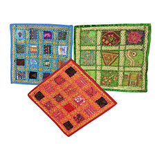Mogul Interior - Indian Embroidered Cushion Cover Throw Embroidered Patchwork Pillows Covers - Decorative Pillows