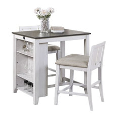 Lexicon Daye 3 Piece Wood Counter Height Dining Set in Gray and White