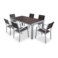 Aluminum 7-Piece Square Dining Table and Chairs Set