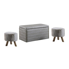 Crocodile 3-Piece Storage Ottoman and Fur Stool Set, Gray