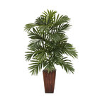 Areca Palm With Bamboo Vase Silk Plant Arrangement