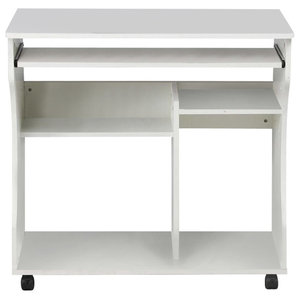 Modern Stylish Desk, MDF With Sliding Tray and Open Shelves for Storage, White