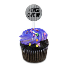 Never Give Up Cupcake Toppers Picks Set