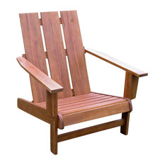 Acacia Large Square Back Adirondack Chair with Antique White Finish, Rustic Brow