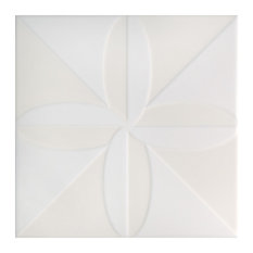 "7.75""x7.75"" Triple Fronteira Ceramic Wall Tile, Set of 25, White"