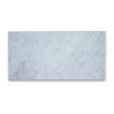 "12""x24"" Marble Subway Tile Honed Italian Bianco Carrera, Set of 50"