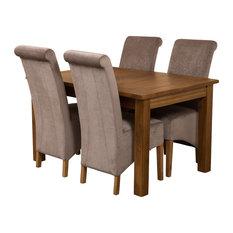 Cotswold Rustic Oak Extending Table, 4 Montana Chairs, Grey Velvet Effect