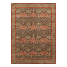 Rugsville Arts and Crafts Handmade Wool Brown Rug 9' x 12'