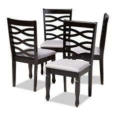 Modern Gray Fabric Upholstered Espresso Brown Finished Wood Dining Chair Set-4