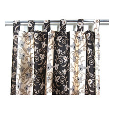 Mogul Interior - Patterned Curtains Luxurious Drapes Drapery Window Panels Pair Tab Top India, 48 - Curtains
