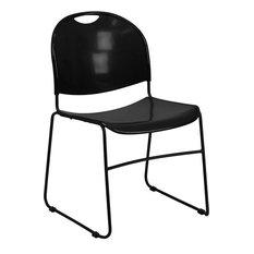 Hercules Series 880 lb. Capacity Black Ultra Compact Stack Chair