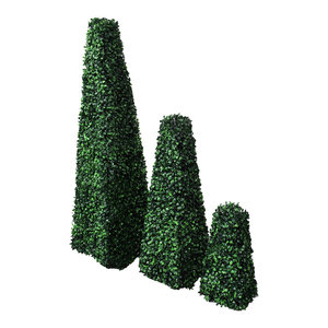 "3 Artificial 14""-39"" Boxwood Pyramid Topiary Fake Plant In/Outdoor Garden Decor"