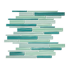 """12""""x15"""" Tropical Reflections Hand-Painted Glass Strip Mosaic, Single Sheet"""