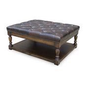 Button Tufted Leather Ottoman