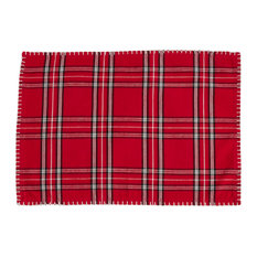 Plaid Whipstitch Cotton Placemats, Set of 4, Red