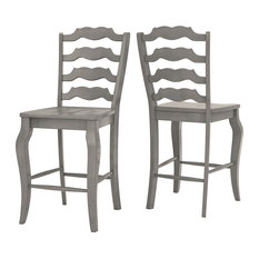 Arbor Hill French Ladder Back Counter Chair, Set of 2, Antique Grey
