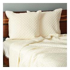 100% Rayon Bamboo Pillow Shams, Ivory, Euro Sham