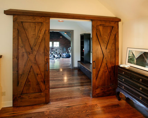 craftsman pocket doors home gym design ideas