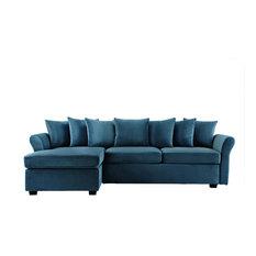 Sofa Mania   Modern Velvet Sectional Sofa, Blue   Sectional Sofas