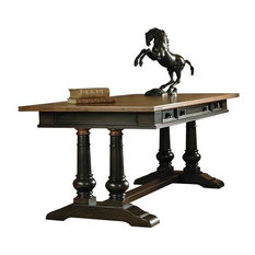 """Hekman 72340 Tuscan Estates 72"""" Wood Writing Desk With Leather Top, Rubbed Onyx"""