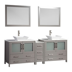 "Vanity Set With Ceramic Top, Gray, 84"", Standard Mirror"