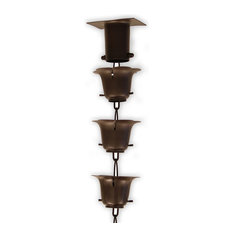 BRONZE FLOWER CUP RAIN CHAIN WITH INSTALLATION KIT, 8 Foot