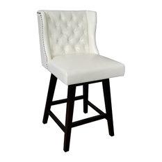 Wingback Swivel Counter Stool With Brushed Silver Nailhead Leather, Ivory