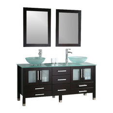"63"" Solid Wood & Glass Double Vessel Sink Vanity Set with Polished Chrome Fa"