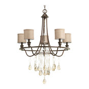 Progress Lighting 5-40W Candle Chandelier, Cognac