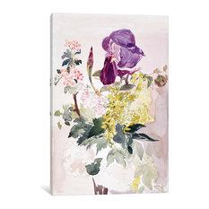 """Flower Piece With Iris, Laburnum, And Geranium"" Wrapped Canvas Print, 26x18x1.5"