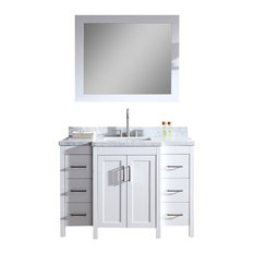 "Ariel Hollandale 49"" Single Sink Bathroom Vanity Set, White"