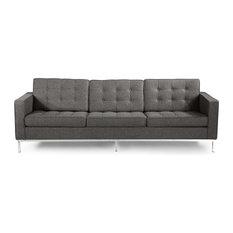 Kardiel   Midcentury Modern Florentine 3 Seat Sofa, Cadet Gray Tweed,  Material: