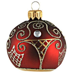 Ruby Ball Ornament With Gold Lattice Traditional Christmas Ornaments By Glassor Us Houzz
