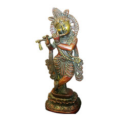 Mogul Interior - Indian Statue Fluting Krishna Brass Sculpture God of Love Divine Joy Idol Figuri - Decorative Objects And Figurines