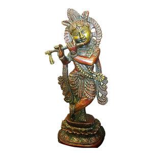 Mogul Interior - Indian Statue Fluting Krishna Brass Sculpture God of Love Divine Joy Idol Figuri - Decorative Objects And Figurines
