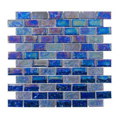 "Marina Iridescent 1""x2"" Glass Mosaic Tile, Blue"