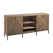 Langston Metal + Rustic Elm Wood Parquet Media Cabinet