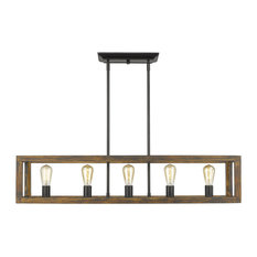 Sutton 5 Light Linear Pendant, Black With Wood Cage